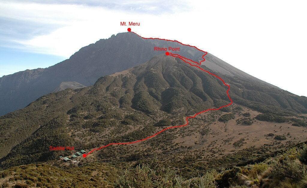 Route naar de top Meru vanaf de Saddle hut